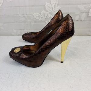 Baby Phat NIB brown 4 inch shiny gold heels size 6